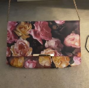 Flower purse with gold hardware
